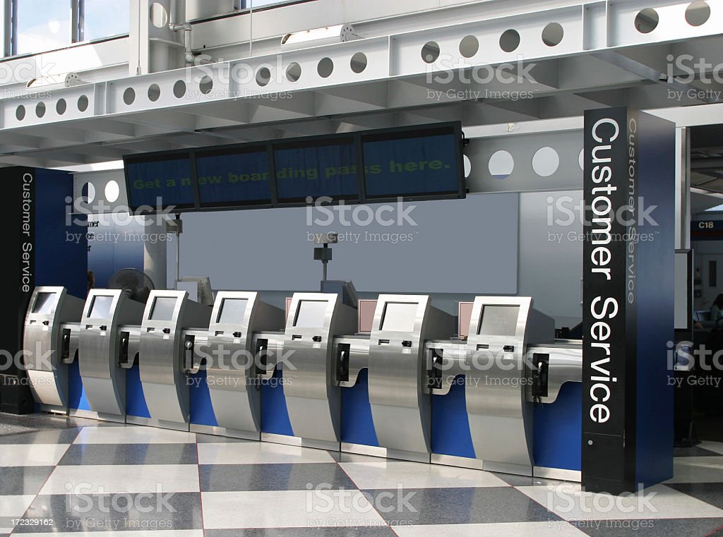 Self-Ticketing Machines In Airport royalty-free stock photo