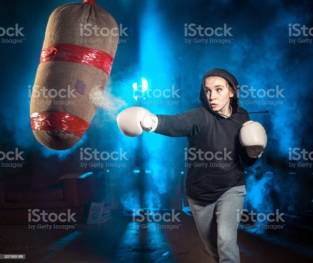 Self-training Boxing stock photo