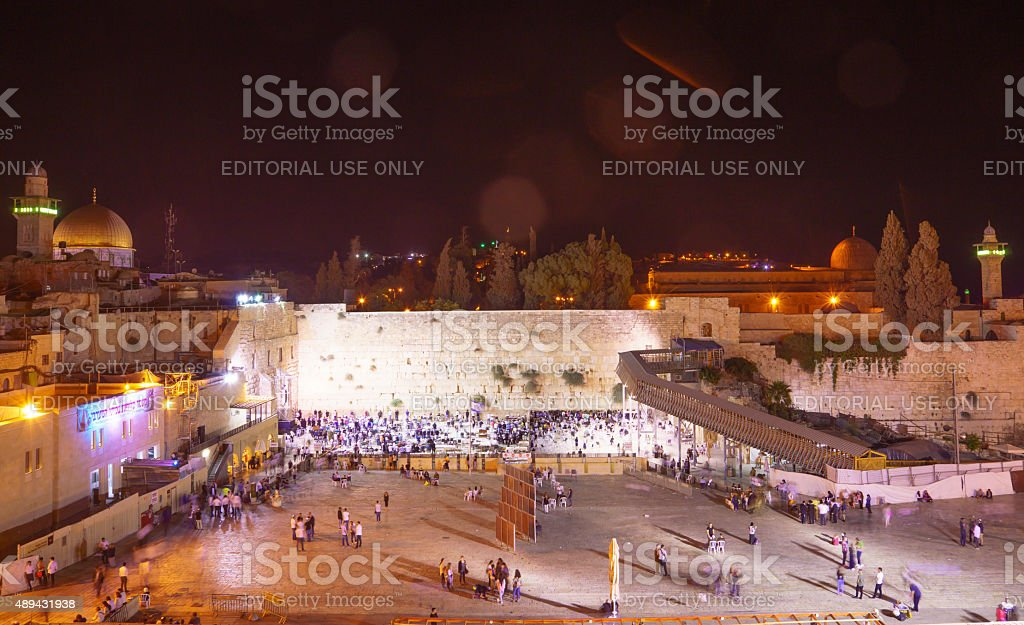 Selichot (Jewish penitential prays) in the western wall stock photo