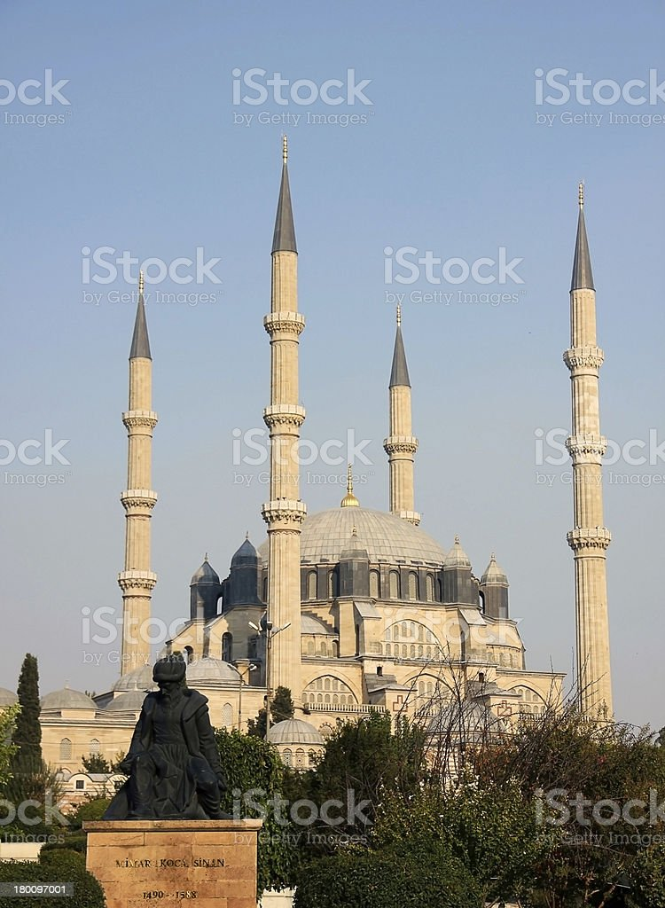 Selimiye Mosque and statue of its architect Mimar Sinan royalty-free stock photo