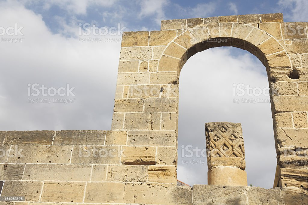 Selimiye Mosque arch facade detail against cloudy sky Nikosia Cyprus stock photo
