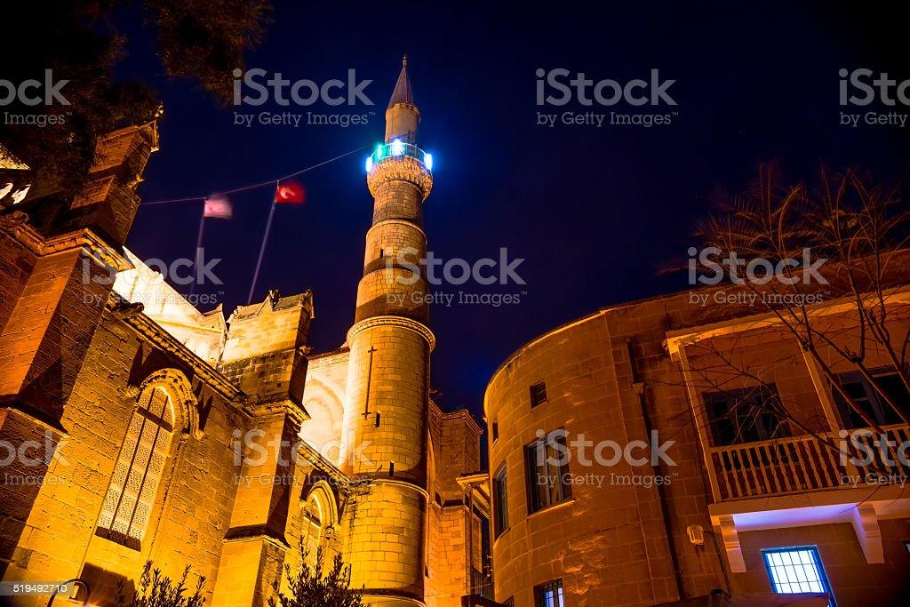 Selimiye Mosque at night. Nicosia, Cyprus stock photo