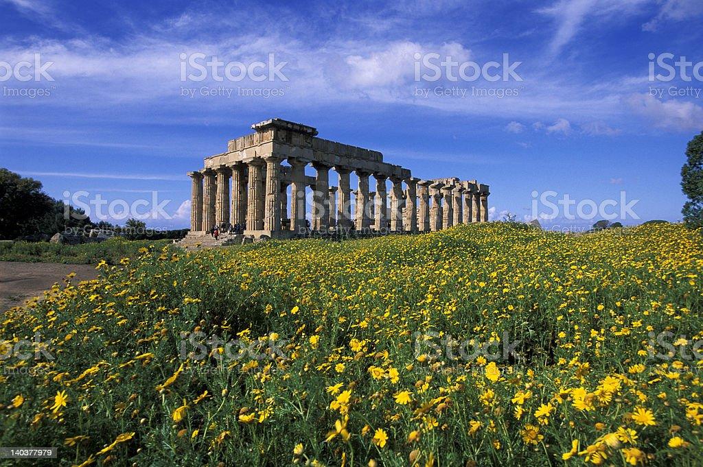 Selinunte doric style temple royalty-free stock photo