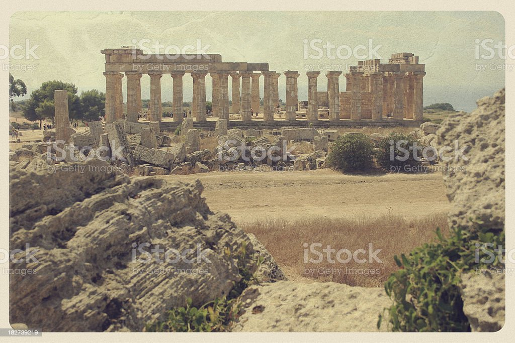 Selinunte, Sicily Ruins - Vintage Postcard royalty-free stock photo