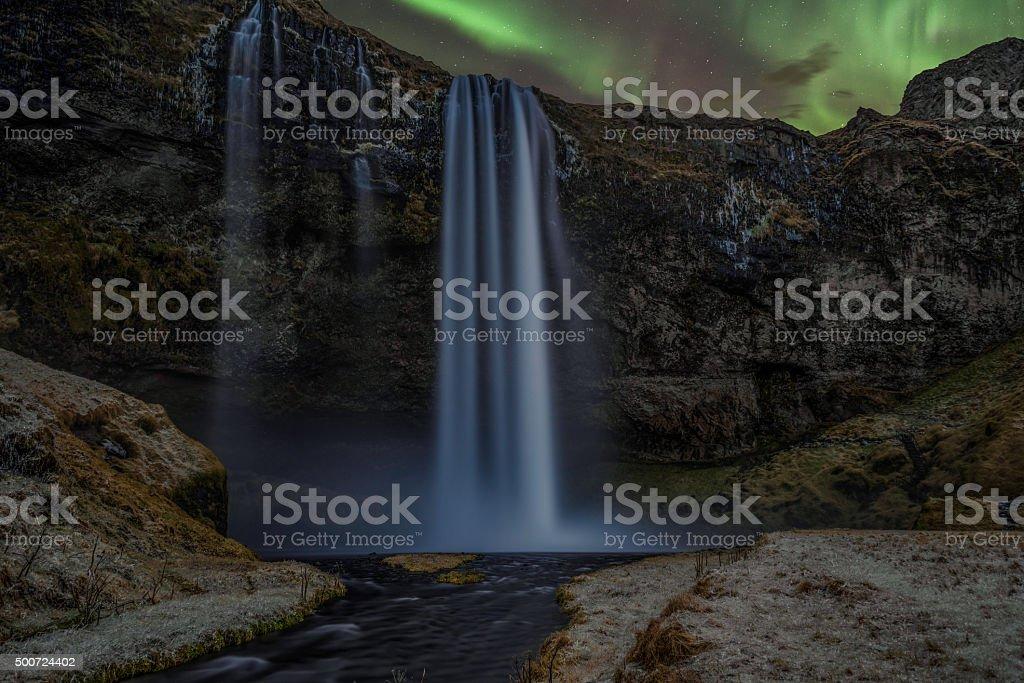 Seljalandsfoss Aurora stock photo