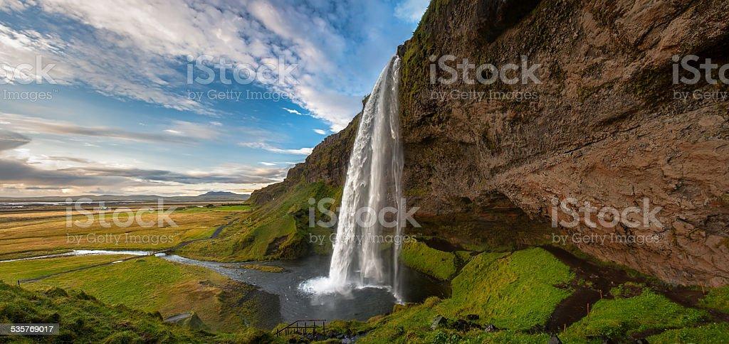 Seljalandsfoss waterfall, Iceland. stock photo