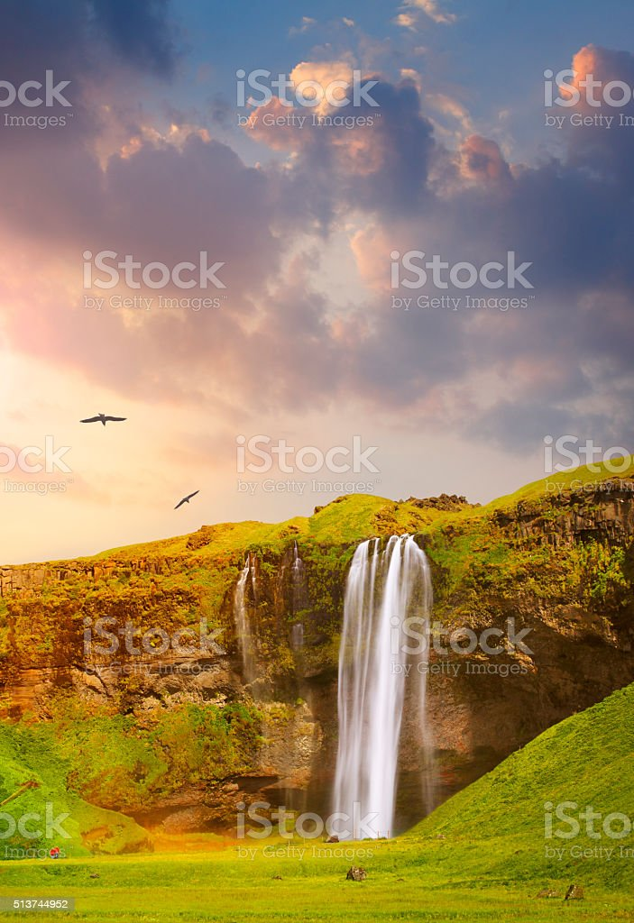 Seljalandsfoss waterfall in south Iceland stock photo