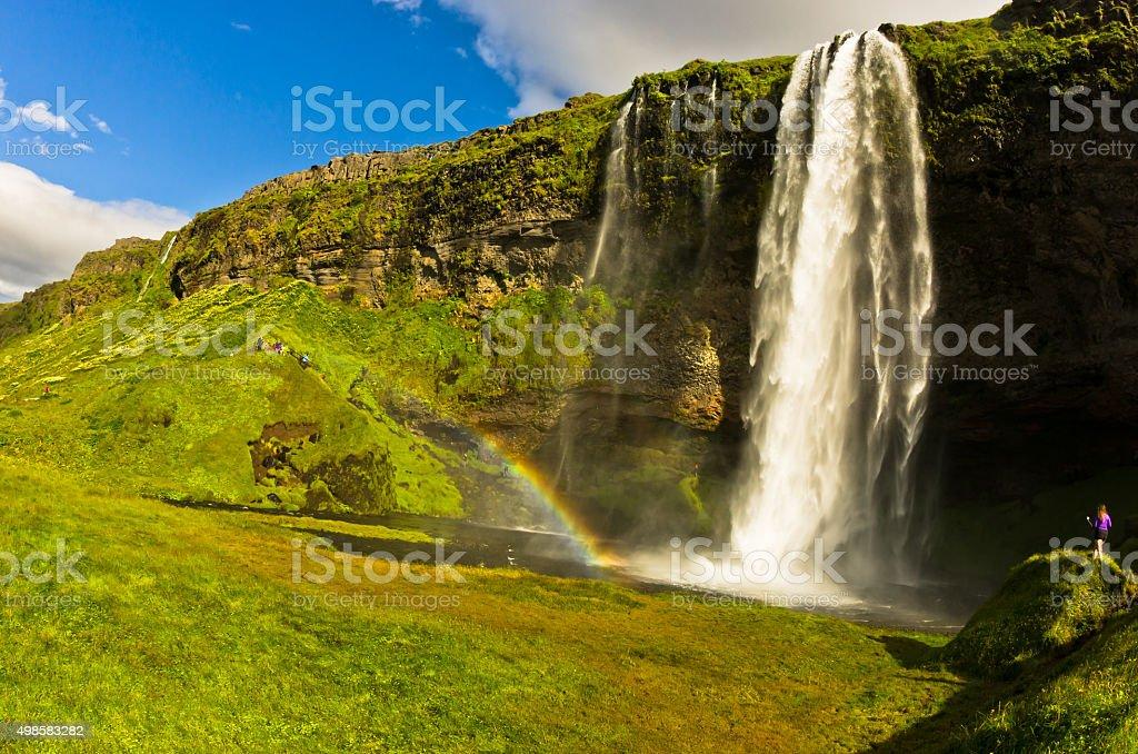 Seljalandsfoss waterfall of river Seljalandsa, south Iceland stock photo
