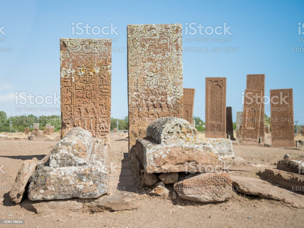 Seljuk Cemetery of Ahlat, the tombstones of medieval islamic notables stock photo
