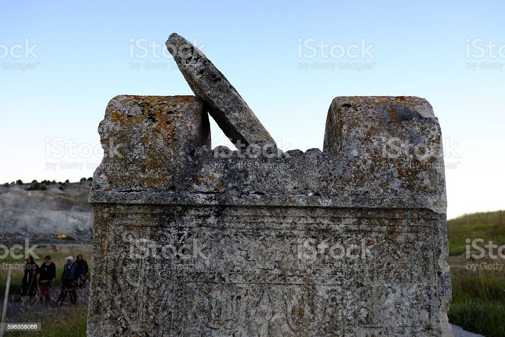 Seljuk Tombstone and Cemetery. stock photo