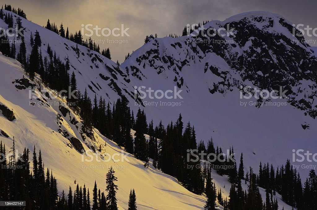 Selkirk Mountains Canada at Sunset royalty-free stock photo