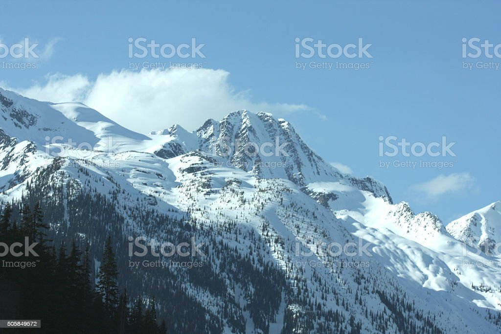 Selkirk Range, Rogers Pass, British Columbia, Canada in Spring stock photo
