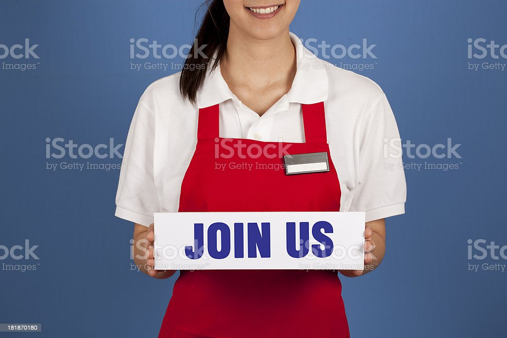 Sell Owner Holding JOIN US Message royalty-free stock photo