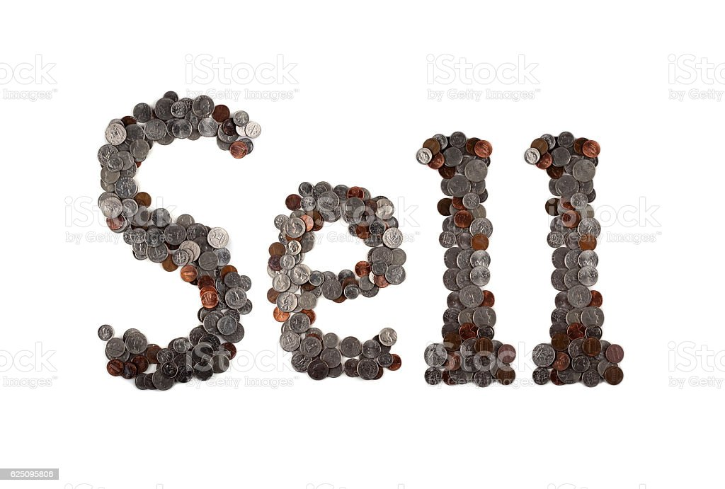 Sell. Word made of coins. stock photo