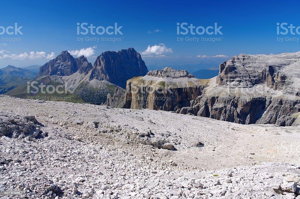 Sella group in Dolomites stock photo