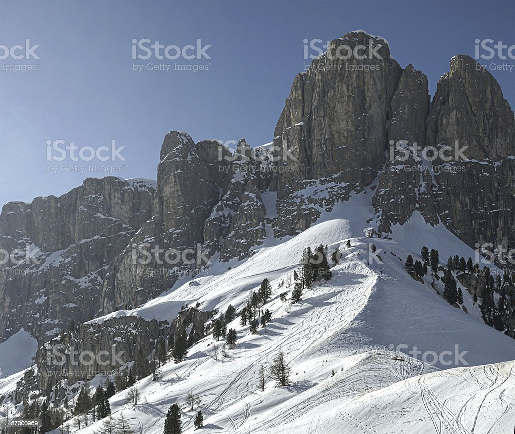 Sella Group, view from Gardena Pass - Dolomiti stock photo