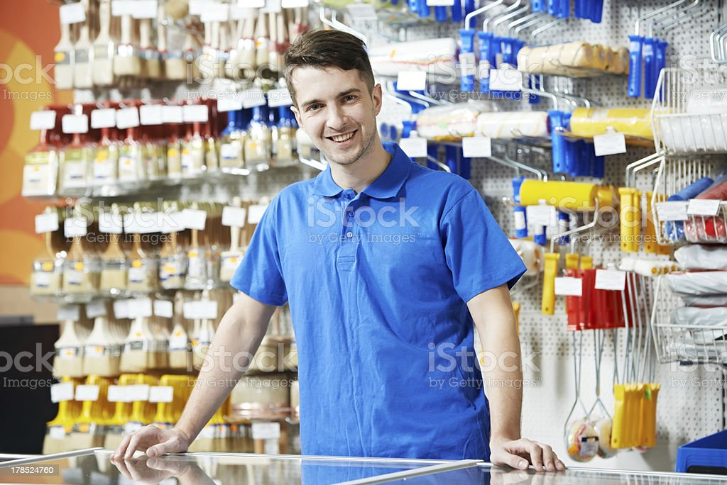 Seller at home improvement store stock photo