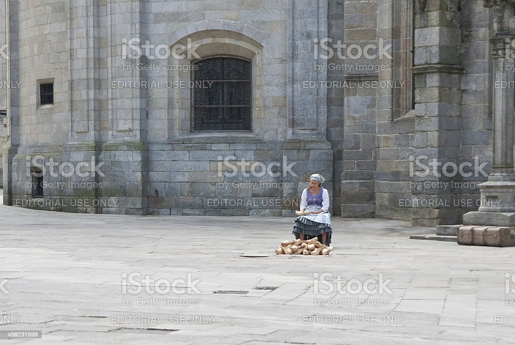 Seller of clogs stock photo
