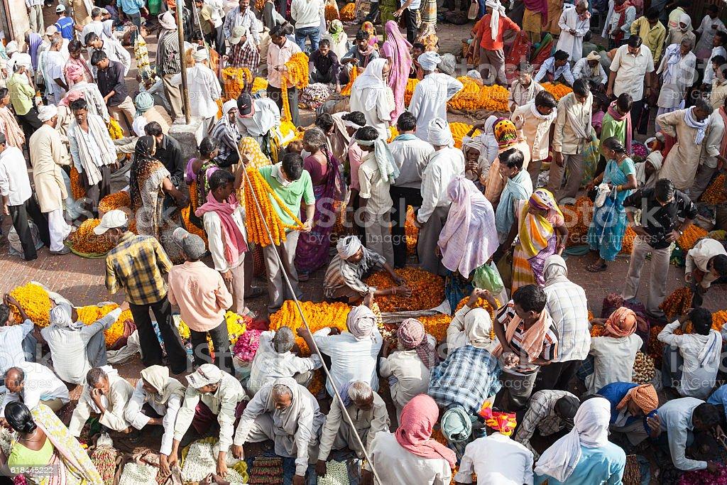 Sellers of puuja flowers in market,Varanasi,India stock photo