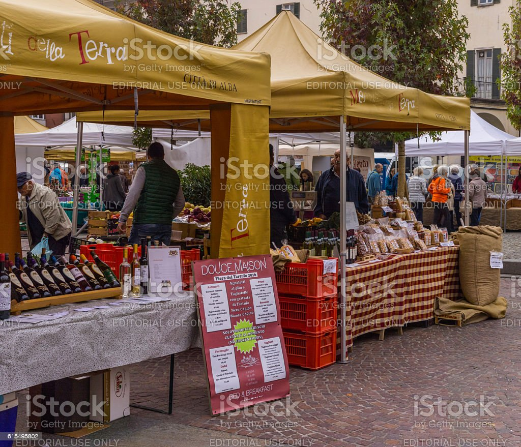 Sellers of wine, hazelnut and Piedmontese products stock photo