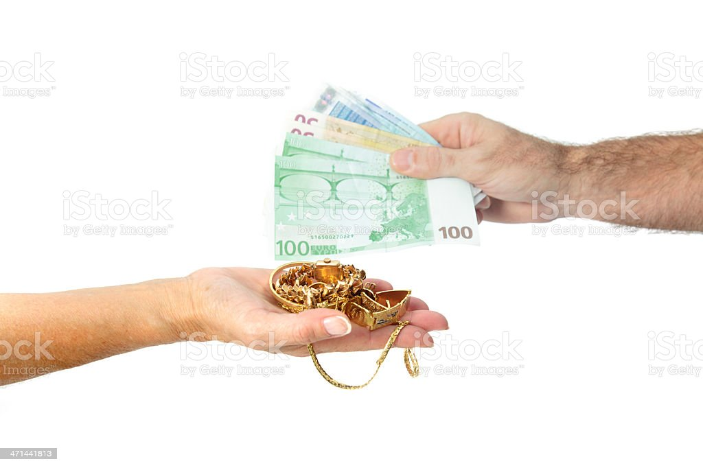 Sellin gold for money stock photo