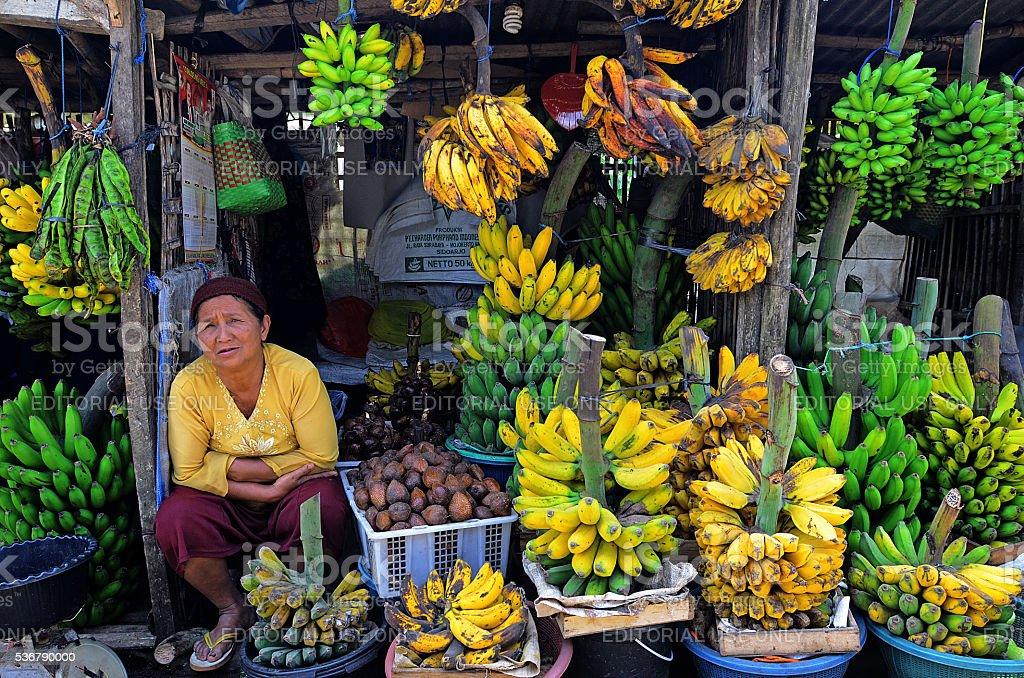 Selling bananas stock photo
