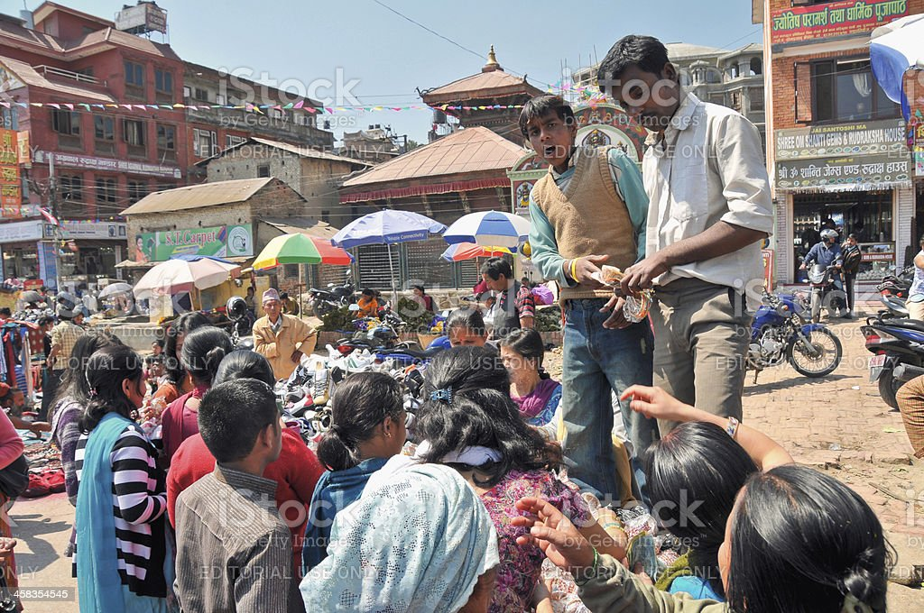 Selling Bracelets in Nepal royalty-free stock photo