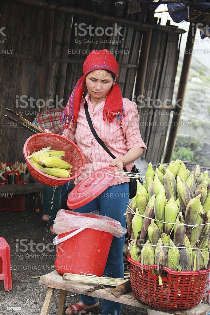 Selling corn stock photo