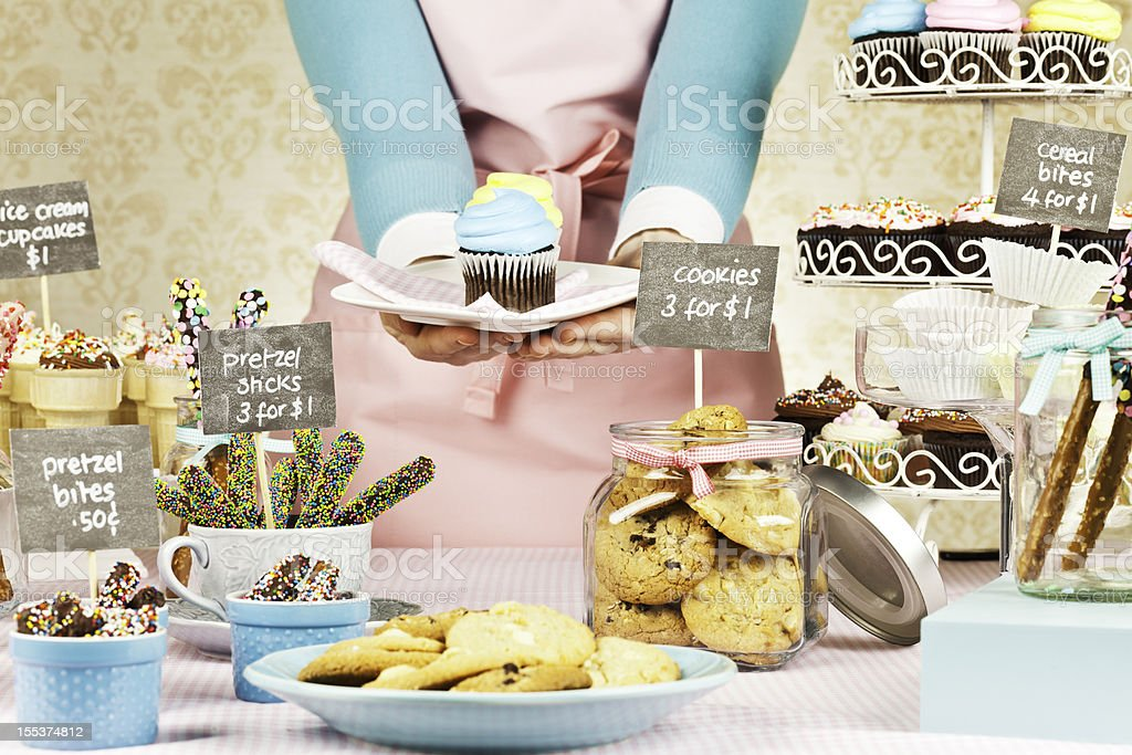 Selling Cupcakes at Bake Sale Fundraiser royalty-free stock photo