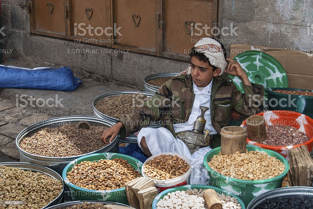 Selling dried fruits in Yemen royalty-free stock photo