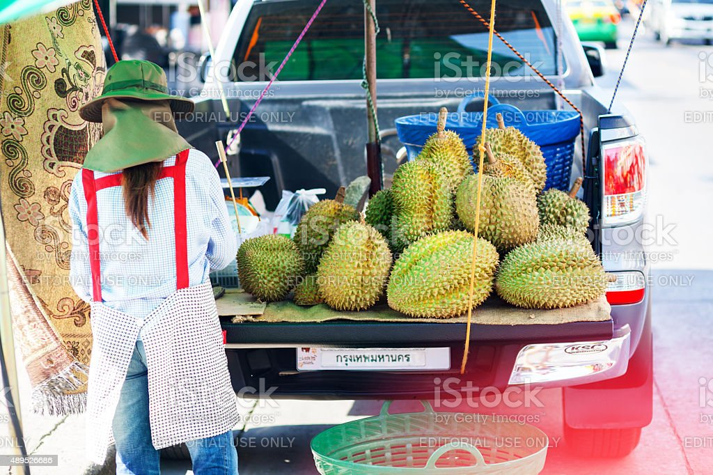 Selling Durian fruits in Bangkok stock photo