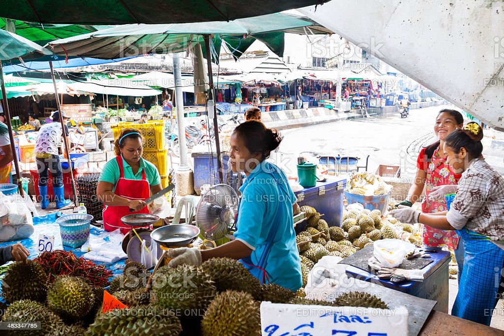 Selling durian fruits stock photo