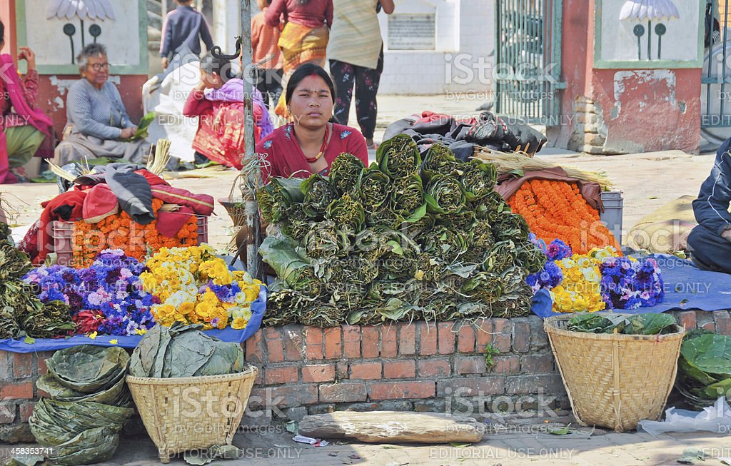 Selling Flowers in Nepal royalty-free stock photo