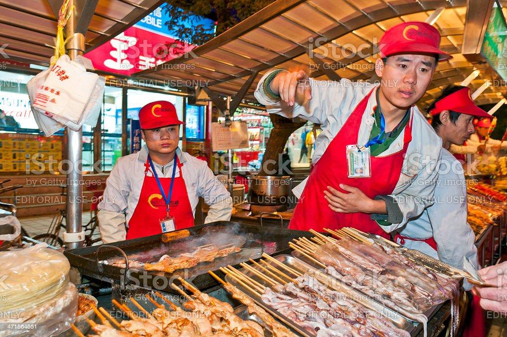Selling Food at Donghuamen Market Beijing China royalty-free stock photo