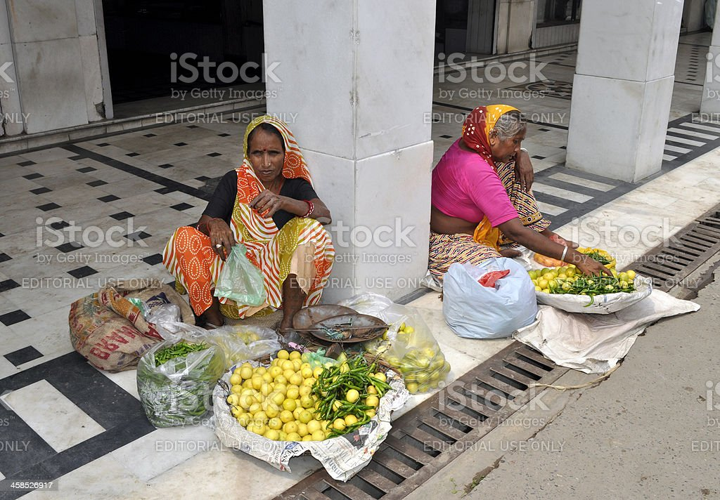 Selling Fruit an Vegetables in Old Delhi royalty-free stock photo