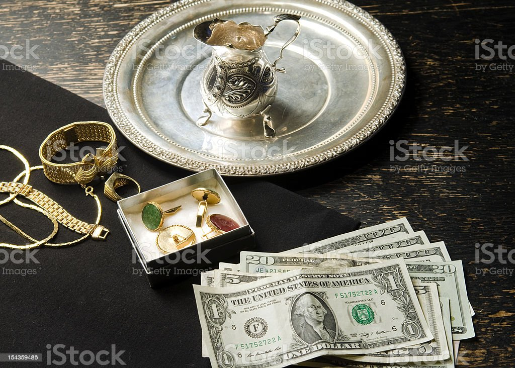selling gold for cash stock photo