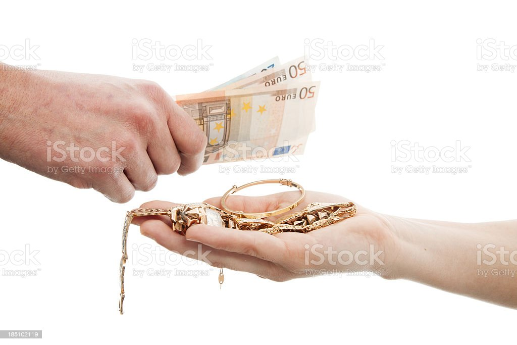 Selling gold stock photo