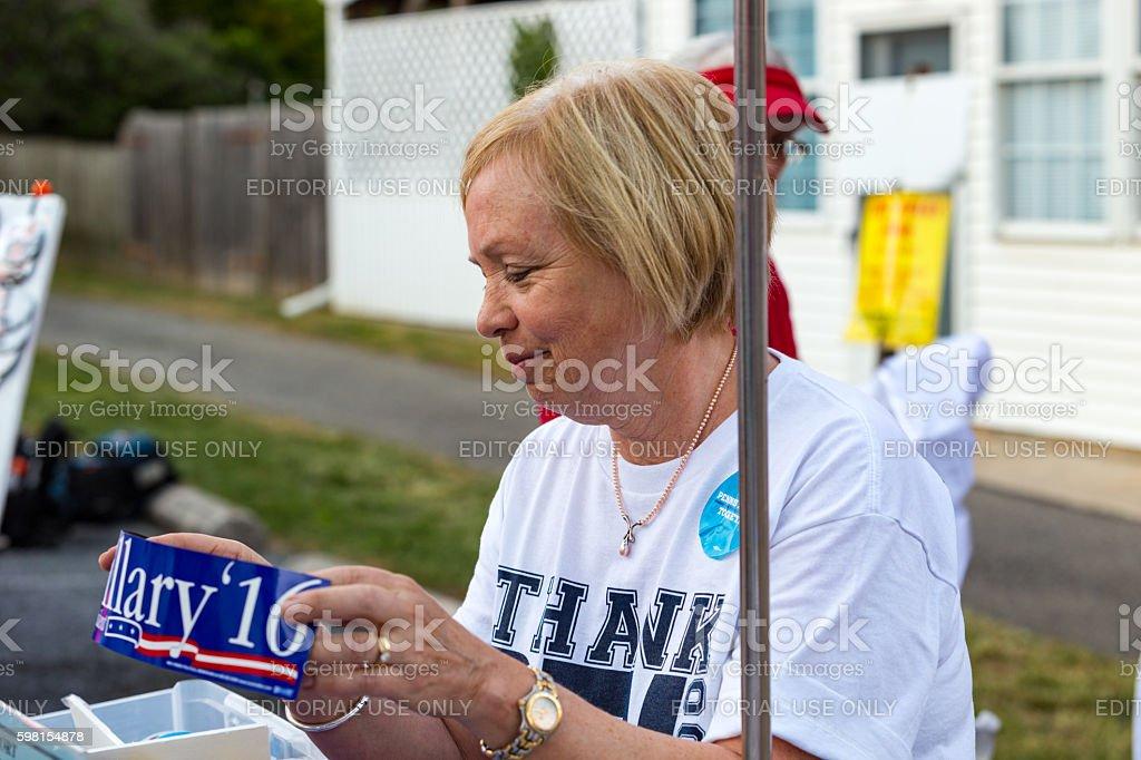Selling Hillary Bumper Sticker stock photo
