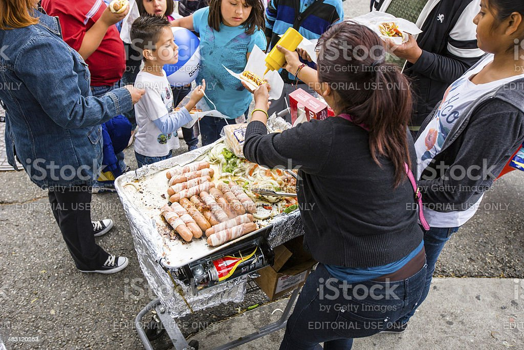 Selling Hot Dogs during Cinco De Mayo Celebration, LA stock photo