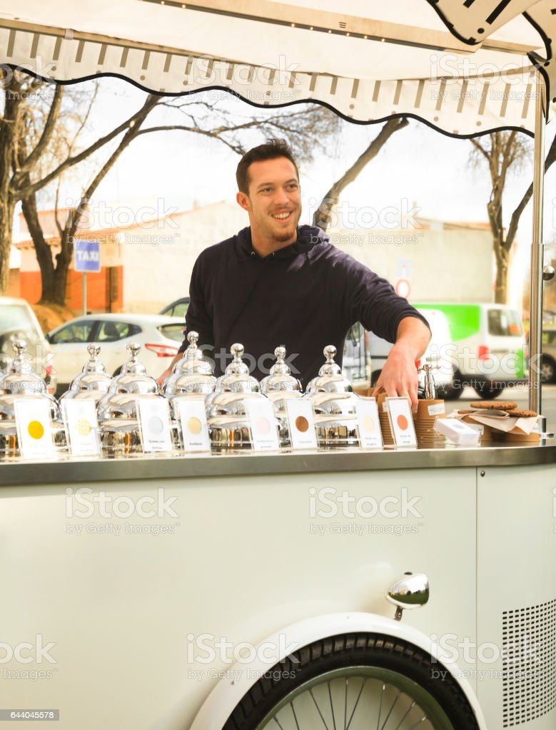 Selling ice cream traveling stock photo