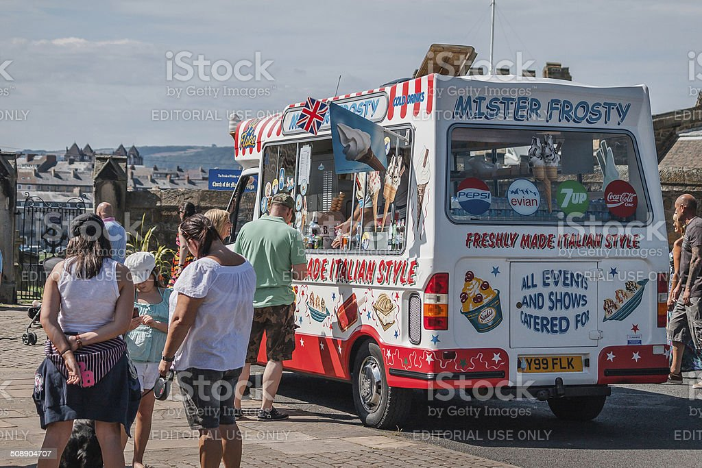 Selling Italian style ice cream in Whitby, UK stock photo
