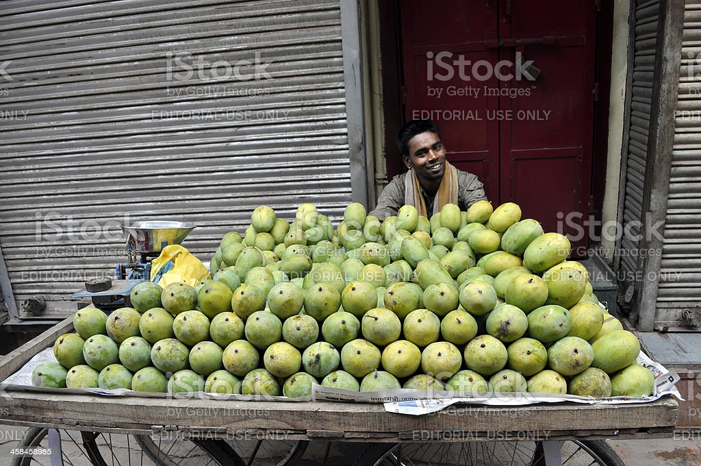 Selling Mango in Old Delhi royalty-free stock photo