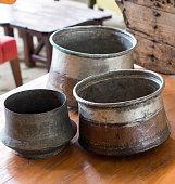Selling old metal  cookware in bazaar