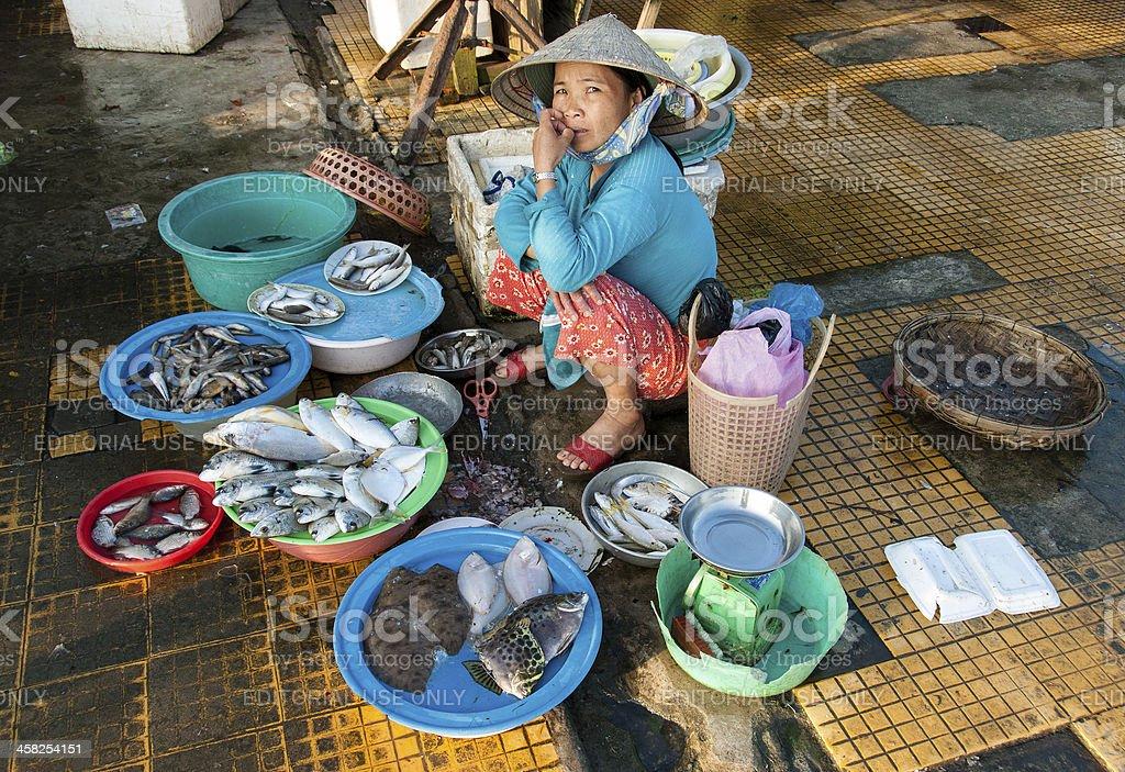 Selling sea food in Vietnam royalty-free stock photo