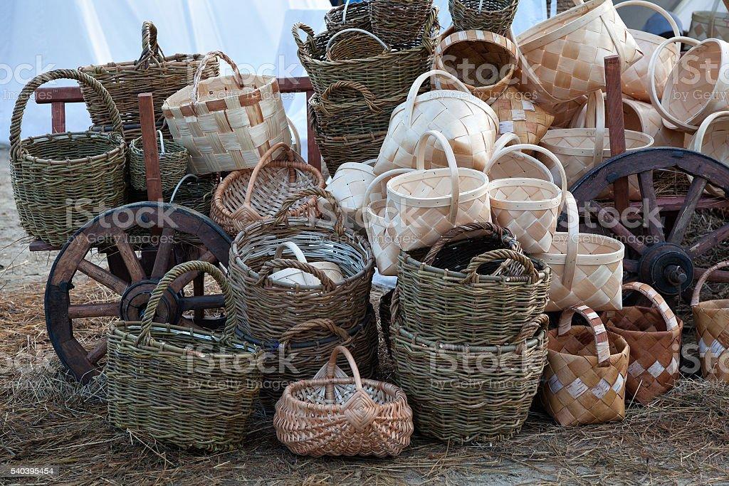 selling wicker baskets stock photo