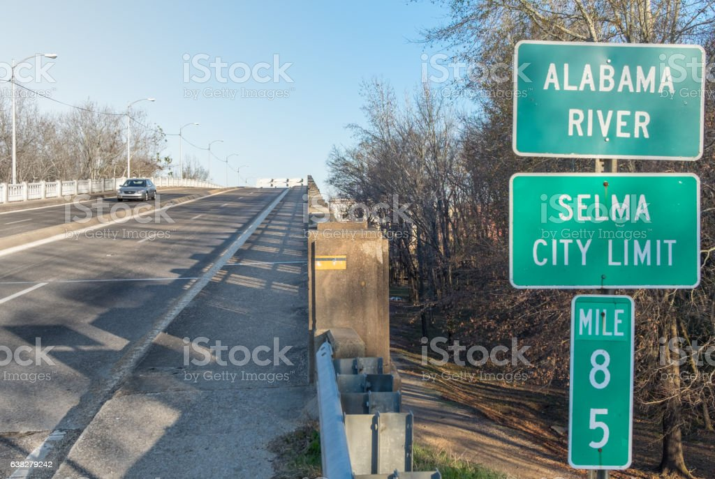 Selma Alabama highway sign stock photo
