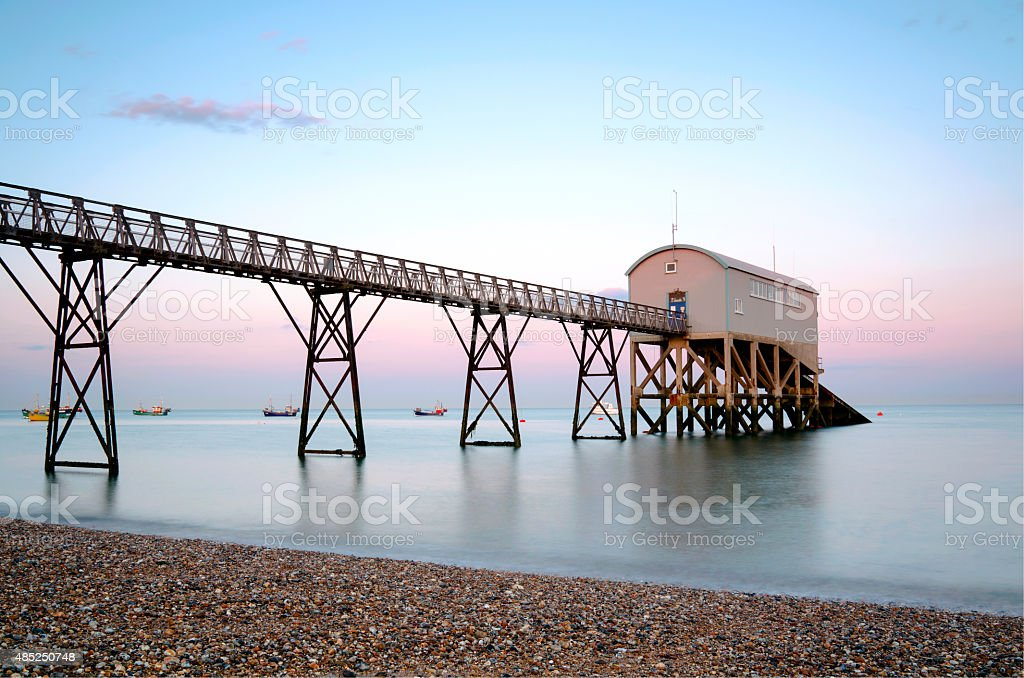 Selsey Bill Lifeboat Station & Pier stock photo