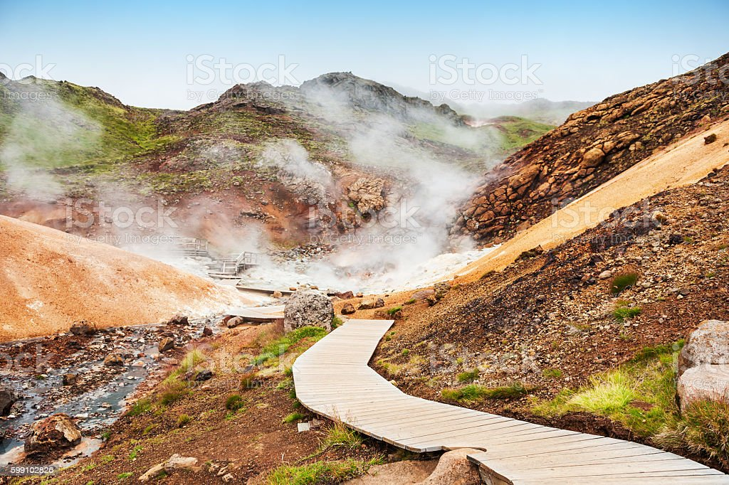Seltun geothermal area in Iceland stock photo