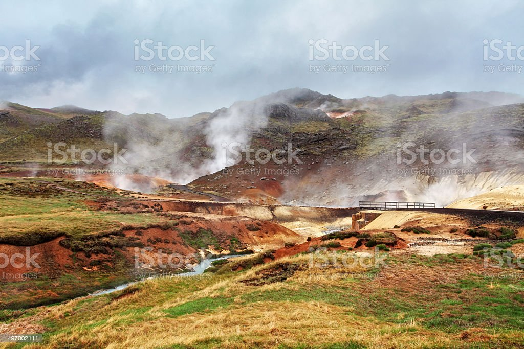 Seltun, Iceland - active volcanic area in Reykjanes peninsula stock photo