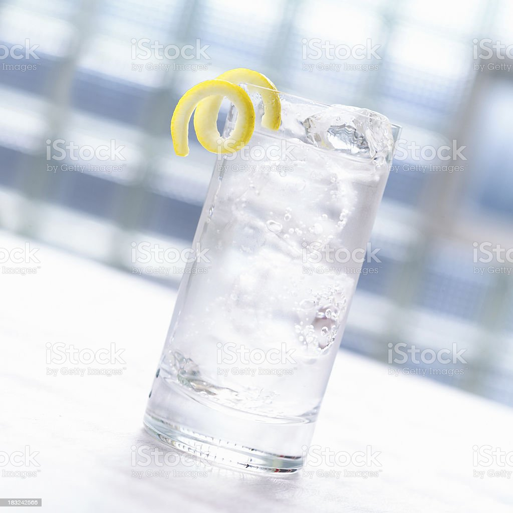 Seltzer with Lemon Twist royalty-free stock photo